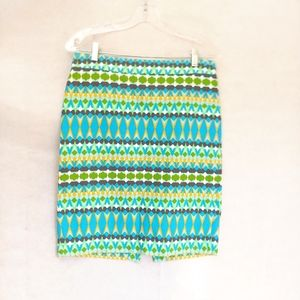 J Crew Multicolor Cotton Tribal Pencil Skirt Sz 4